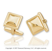 Slick Carved Classic Style 14k Yellow Gold Cufflinks
