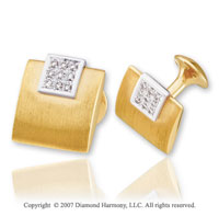 14k Two Tone Gold Round Prong 1/4 Carat Diamond Cufflinks