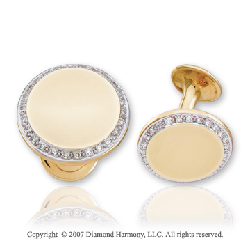 14k Two Tone Gold Round Prong 0.40 Carat Diamond Cufflinks