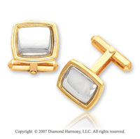 18k Yellow Gold Swivel Back Puffed Platinum Cufflinks
