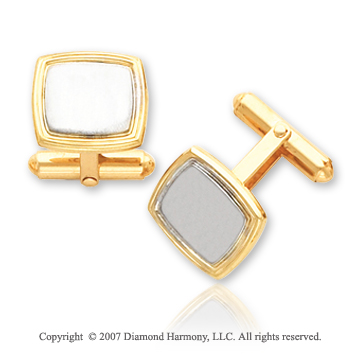 18k Yellow Gold Swivel Back Smooth Platinum Cufflinks