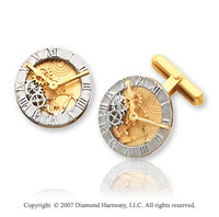 Carved Timepiece Fashionable 14k Two Tone  Gold Cufflinks