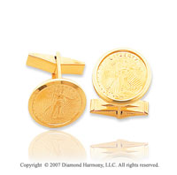 14k Yellow Gold Stylish Carved Liberty 18mm Cufflinks