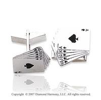14k White Gold Deck of Cards 3/4 inch Cufflinks