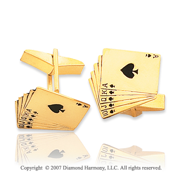 14k Yellow Gold Deck of Cards 3/4 inch Cufflinks
