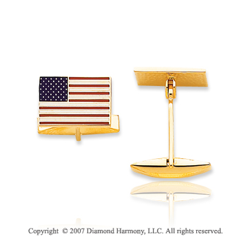 14k Yellow Gold Patriotic Fine American Flag Cufflinks