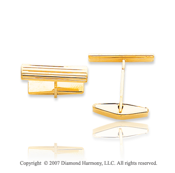 14k Yellow Gold Modern Style Linear Carved Cufflinks