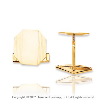 14k Yellow Gold Octagon Stylish Carved 15mm Cufflinks