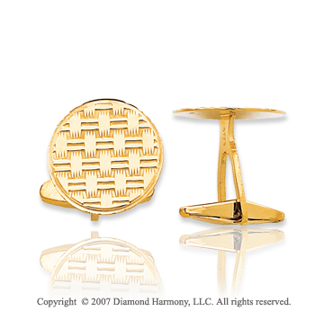 14k Yellow Gold Circle Woven Pattern Carved Cufflinks