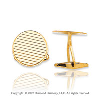 14k Yellow Gold Stylish Circle Linear Carved Cufflinks