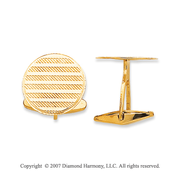 14k Yellow Gold Circle Lines Carved 3/4 inch Cufflinks