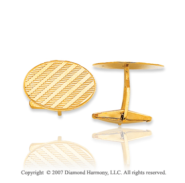 14k Yellow Gold Oval Lines Carved 5/8 inch Cufflinks