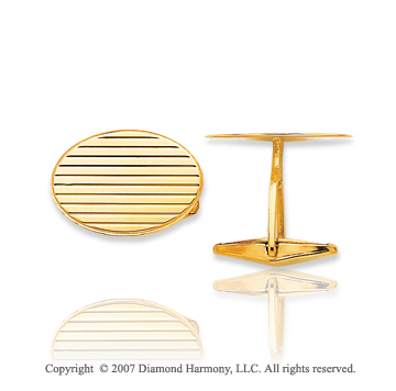 14k Yellow Gold Stylish Oval Linear Carved Cufflinks