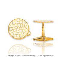 14k Yellow Gold Classic Leather Style Carved Cufflinks