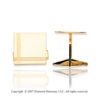 14k Yellow Gold Modern Linear Style Square Cufflinks