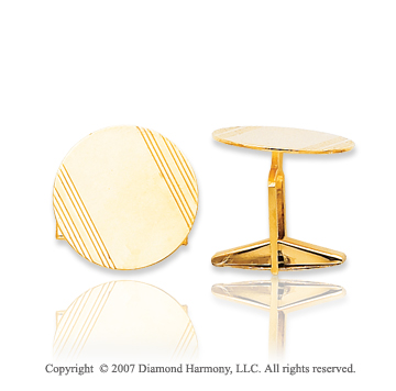 14k Yellow Gold Modern Linear Style Circle Cufflinks
