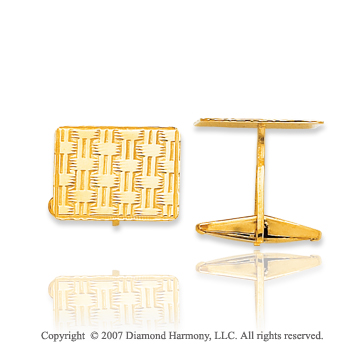 14k Yellow Gold Rectangle Woven Pattern Cufflinks