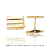 14k Yellow Gold Stylish Rectangle Linear Cufflinks