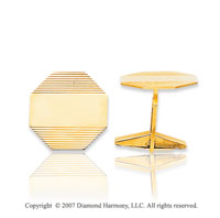 14k Yellow Gold Modern Octagon Linear Carved Cufflinks