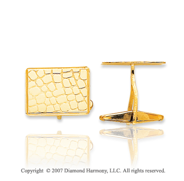 14k Yellow Gold Rectangle Leather Pattern Cufflinks