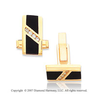 14k Yellow Gold Onyx Channel 1/4Ct Diamond Cufflinks