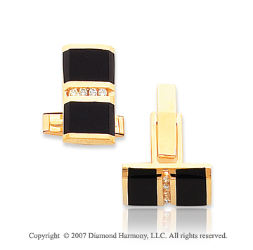 14k Yellow Gold Onyx Round 1/4 Carat Diamond Cufflinks