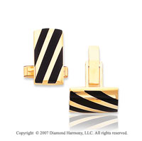14k Yellow Gold Classic Stylish Onyx Stripes Cufflinks