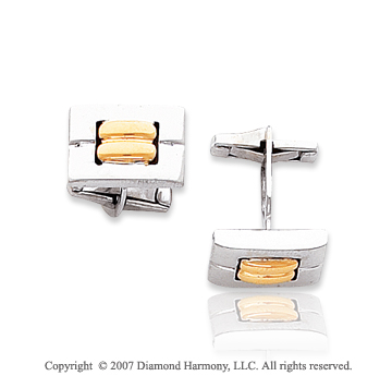 14k Two Tone Gold Modern Fashionable 10mm Cufflinks