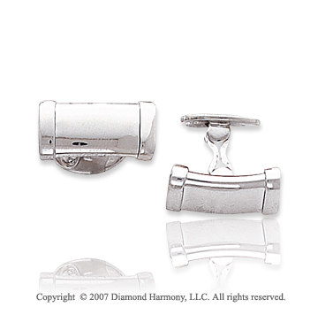 14k White Gold Sleek Modern Fashion 9mm Cufflinks
