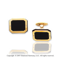 14k Yellow Gold Rubber Modern Style 14mm Cufflinks