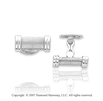14k White Gold Fashionable Modern Carved Cufflinks