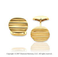 14k Yellow Gold Modern Fashion Carved 15mm Cufflinks