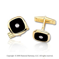 14k Yellow Gold Classic Diamond Onyx Cufflinks