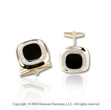 14k Yellow Gold Dashing Diamond Onyx Cufflinks