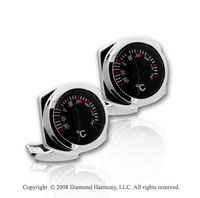 Classic Stainless Steel Nautilus Thermometer Cufflinks