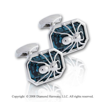 Fashionable Deadly Spider Sterling Silver Cufflinks