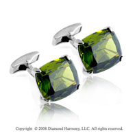 Sterling Silver Pillow Olive Green Gem Cufflinks