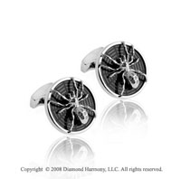 Round Sterling Silver Black Enamel Spider Cufflinks