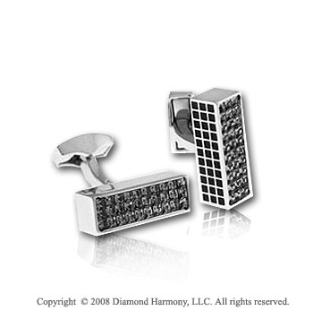 Stainless Steel Black Enamel and Crystal Brick Cufflinks