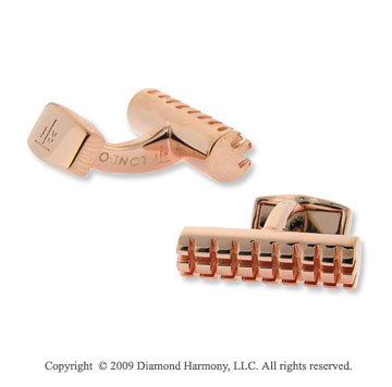 Stainless Steel Rose Gold Plated Cylinder Grid Cufflinks