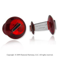 Sterling Silver Red Agate Sputnik Cufflinks