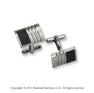 Stylish Stainless Steel Carboon Fiber Men's Cufflinks
