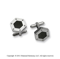 Sleek Stainless Steel Carbon Fiber Hexagon Cufflinks