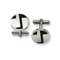 Stylish Stainless Steel Enamel Cufflinks