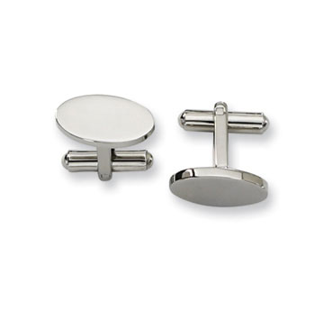 Classic Stainless Steel Oval Engraveable Cufflinks