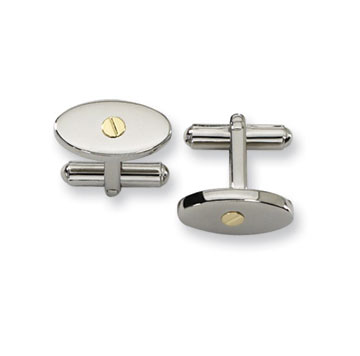 Classic Stainless Steel With 18k Gold Accent Oval Cufflinks
