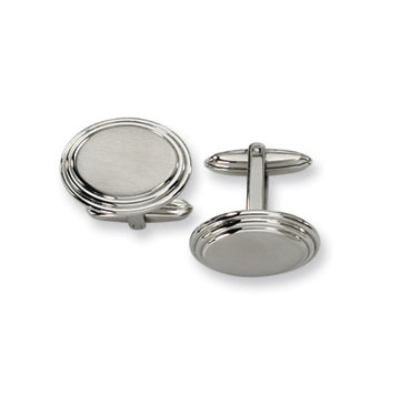 Classic Brushed Stainless Steel Oval Engraveable Cufflinks