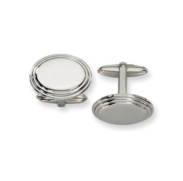 Classic Polished Stainless Steel Oval Engraveable Cufflinks