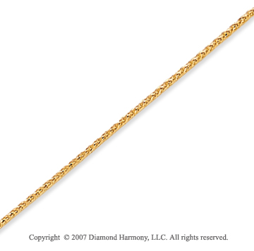 14k Yellow Gold Stylish Medium 1.00mm Round Wheat Chain