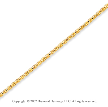 14k Yellow Gold Stylish Medium 1.40mm Round Wheat Chain